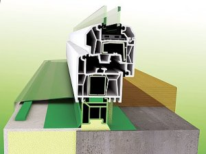 Obr. 2a: Detail řešení spodní připojovací vodorovné spáry při použití fólií jako vnitřní a vnější uzávěr